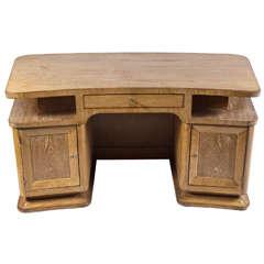 French Cerused Pale Oak Kneehole Desk