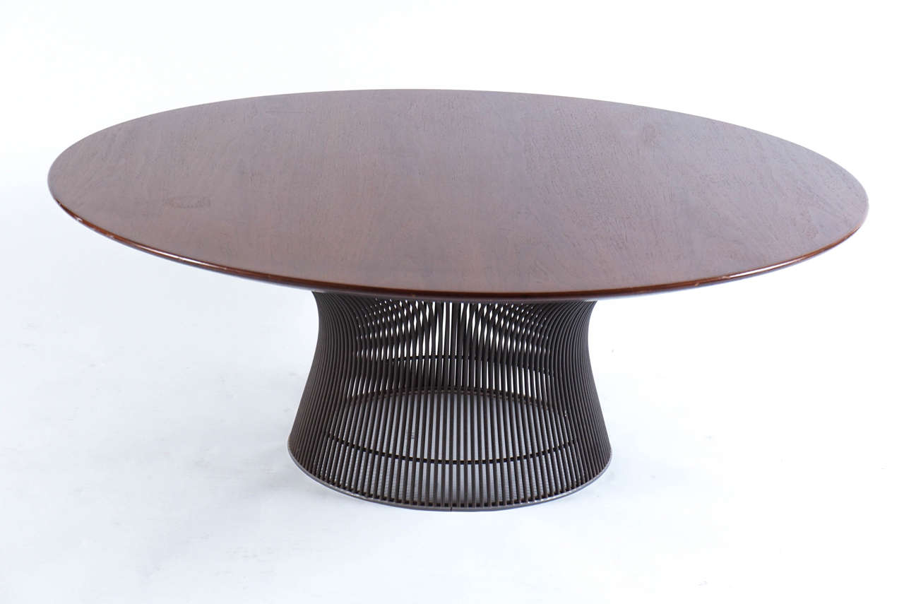 walnut and bronze round coffee table by warren platner for