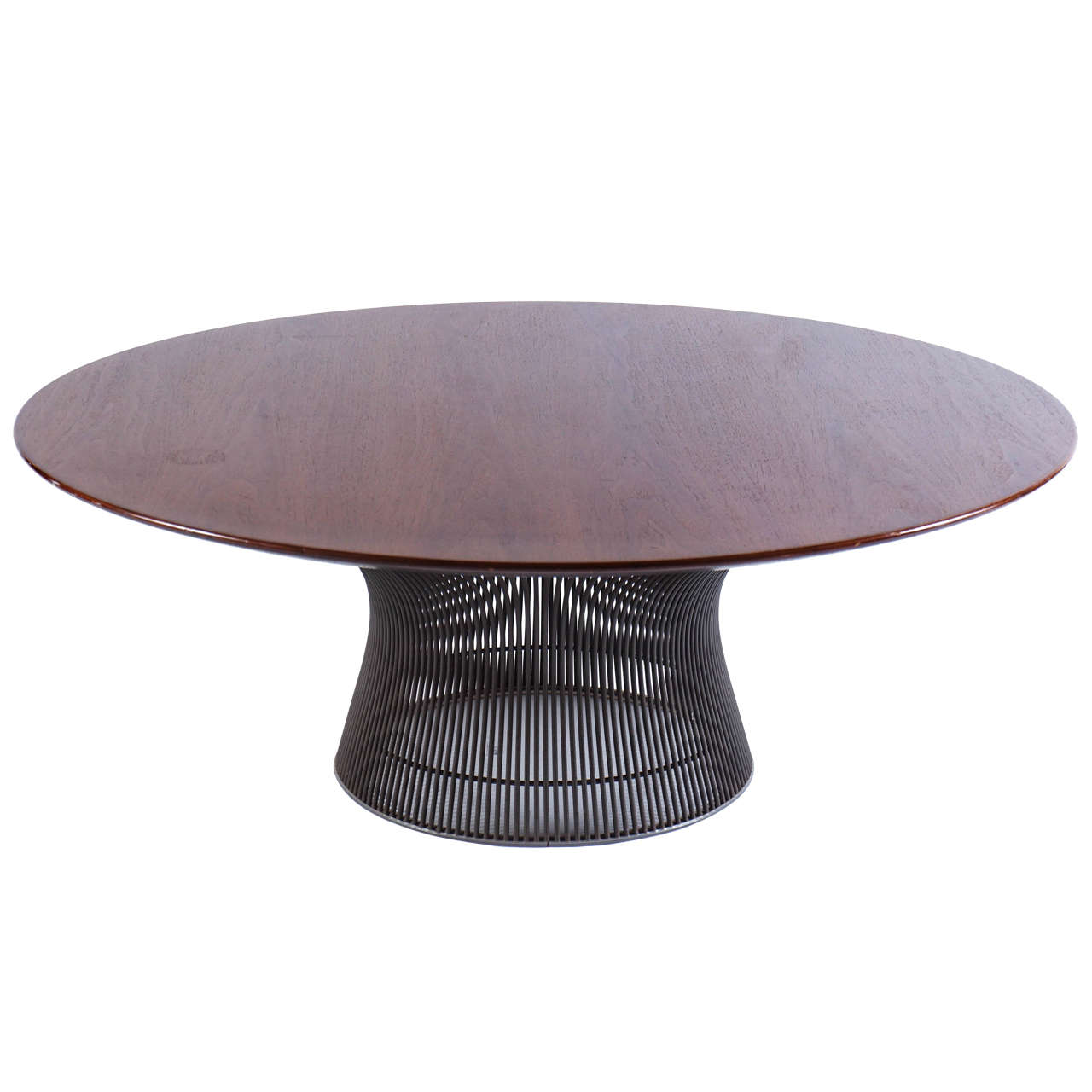 walnut and bronze round coffee table by warren platner for knoll