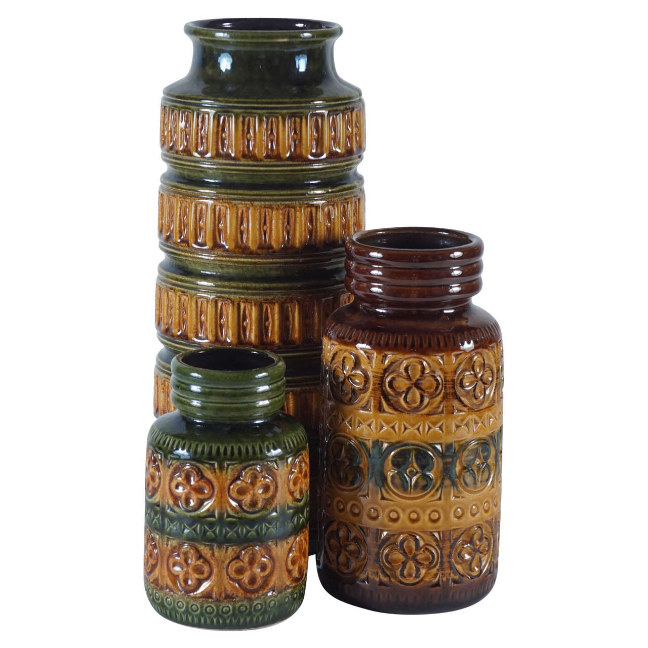 Trio of green and brown west german pottery vases at 1stdibs trio of green and brown west german pottery vases for sale reviewsmspy