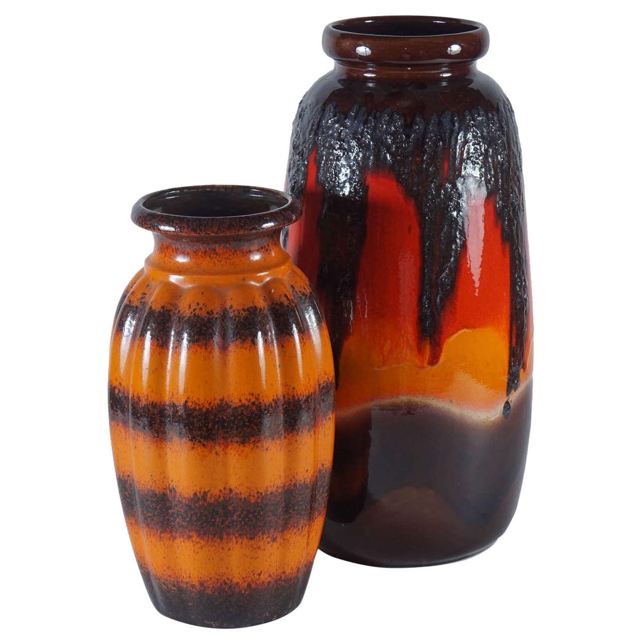 Pair of west german pottery vases in orange at 1stdibs for Orange vase