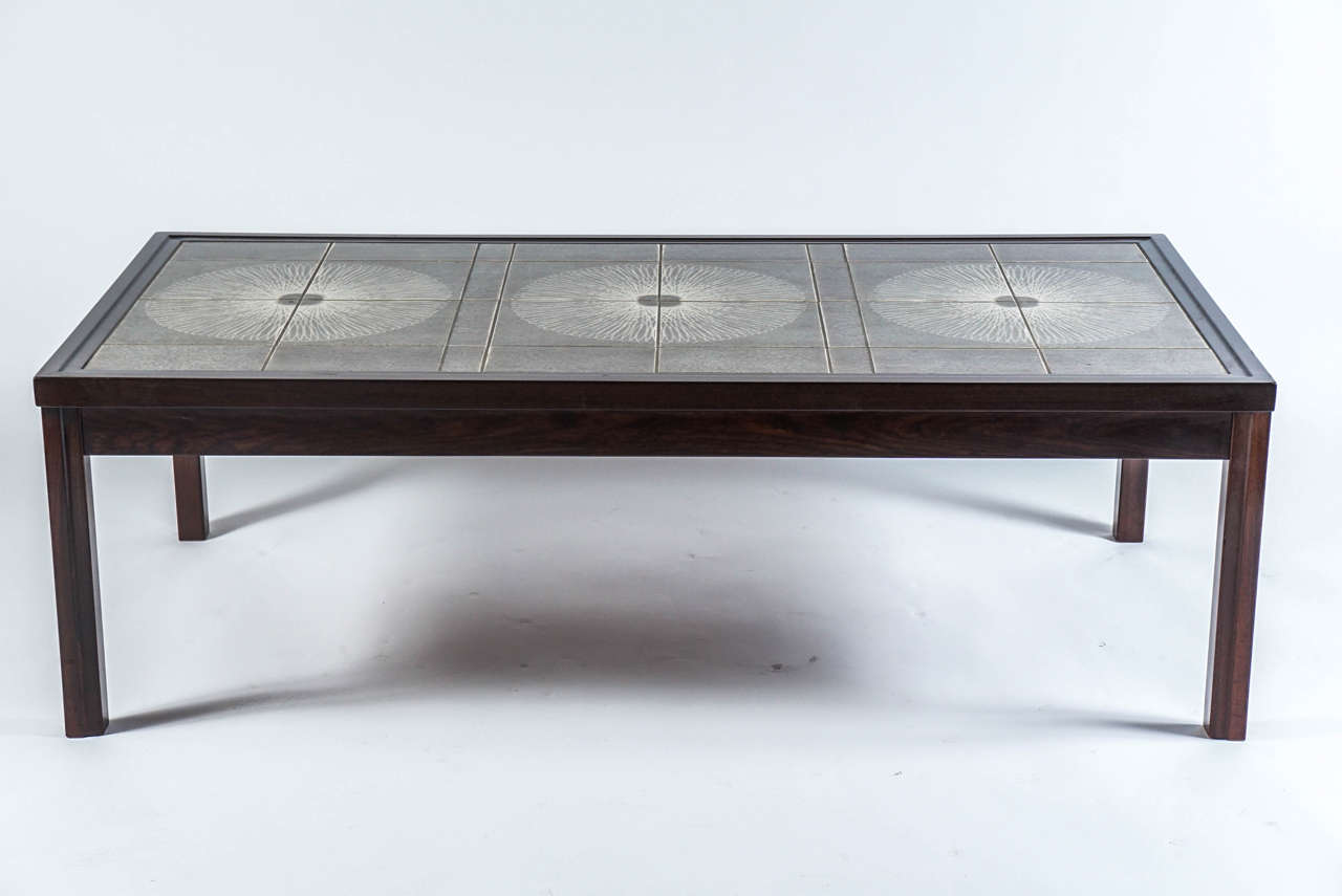Danish Tile Top Coffee Table In The Style Of Roger Capron At 1stdibs