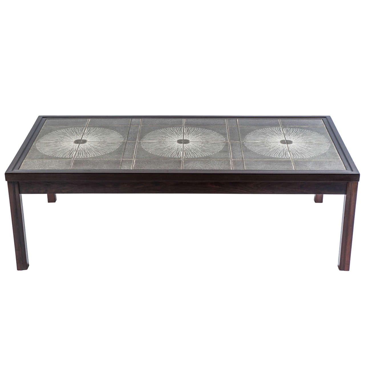 Danish tile top coffee table in the style of roger capron for Tile coffee table