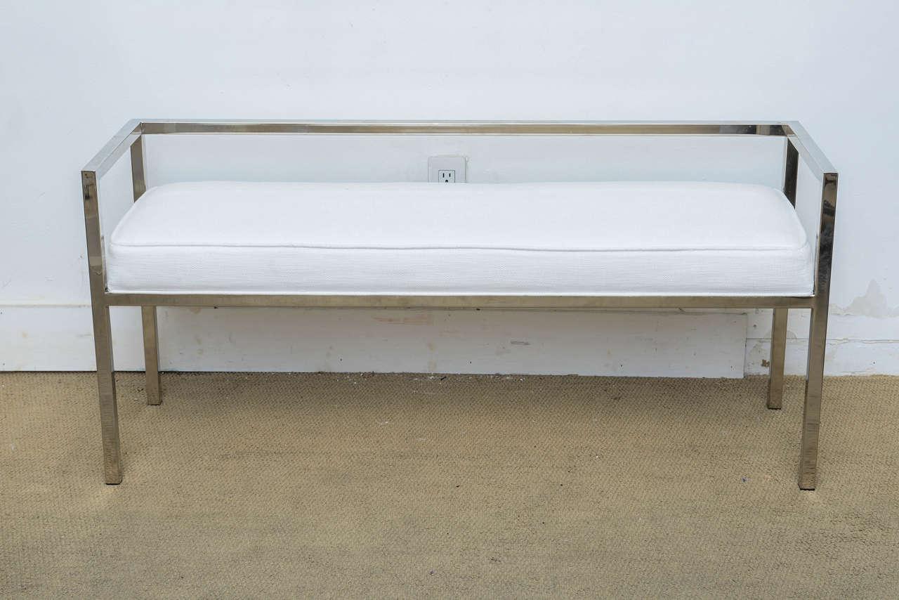 Mid Century Modern Milo Baughman Chrome Upholstered