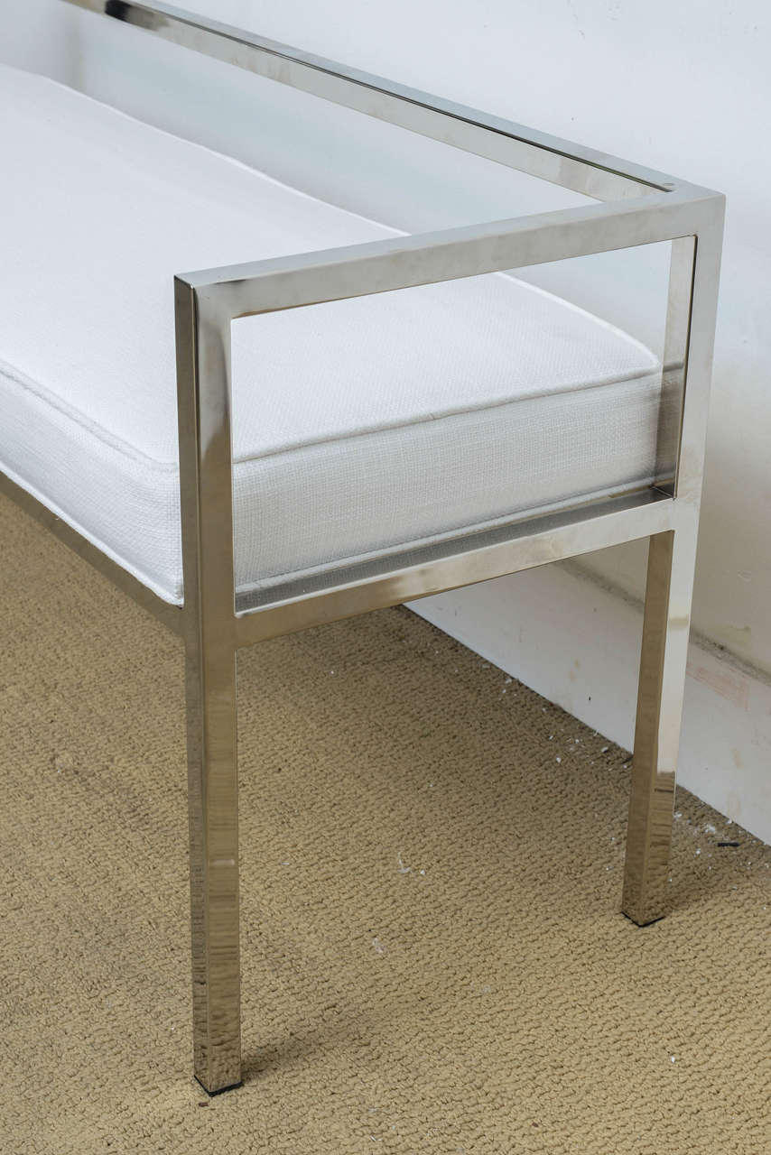Mid Century Modern Milo Baughman Chrome Upholstered Banquette Bench At 1stdibs