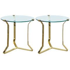 Pair Mid Century Modern Brass Glass Top Sculptural Side Tables