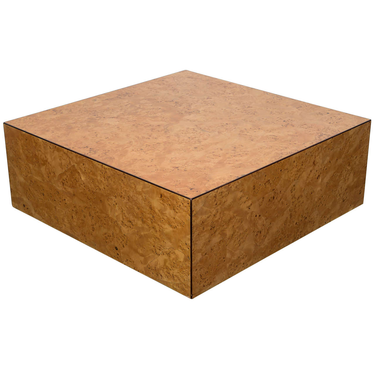 Milo Baughman 1970s Floating Burl Wood Square Modern Coffee Table At 1stdibs