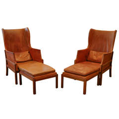 Pair of Mogens Koch Wing Chairs, Denmark 1930