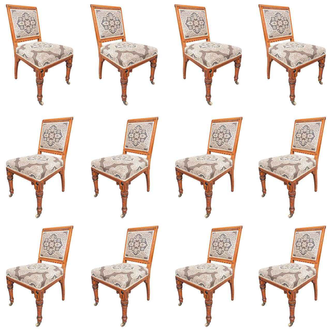 James Lamb set of twelve Arts and Crafts dining chairs, England circa 1890