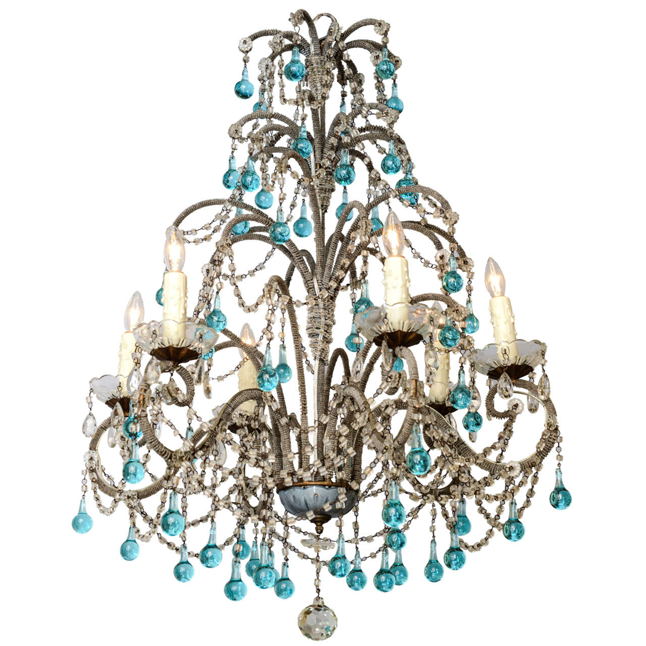 Italian beaded arm six light chandelier with turquoise glass drops at 1stdibs - Chandelier glass beads ...