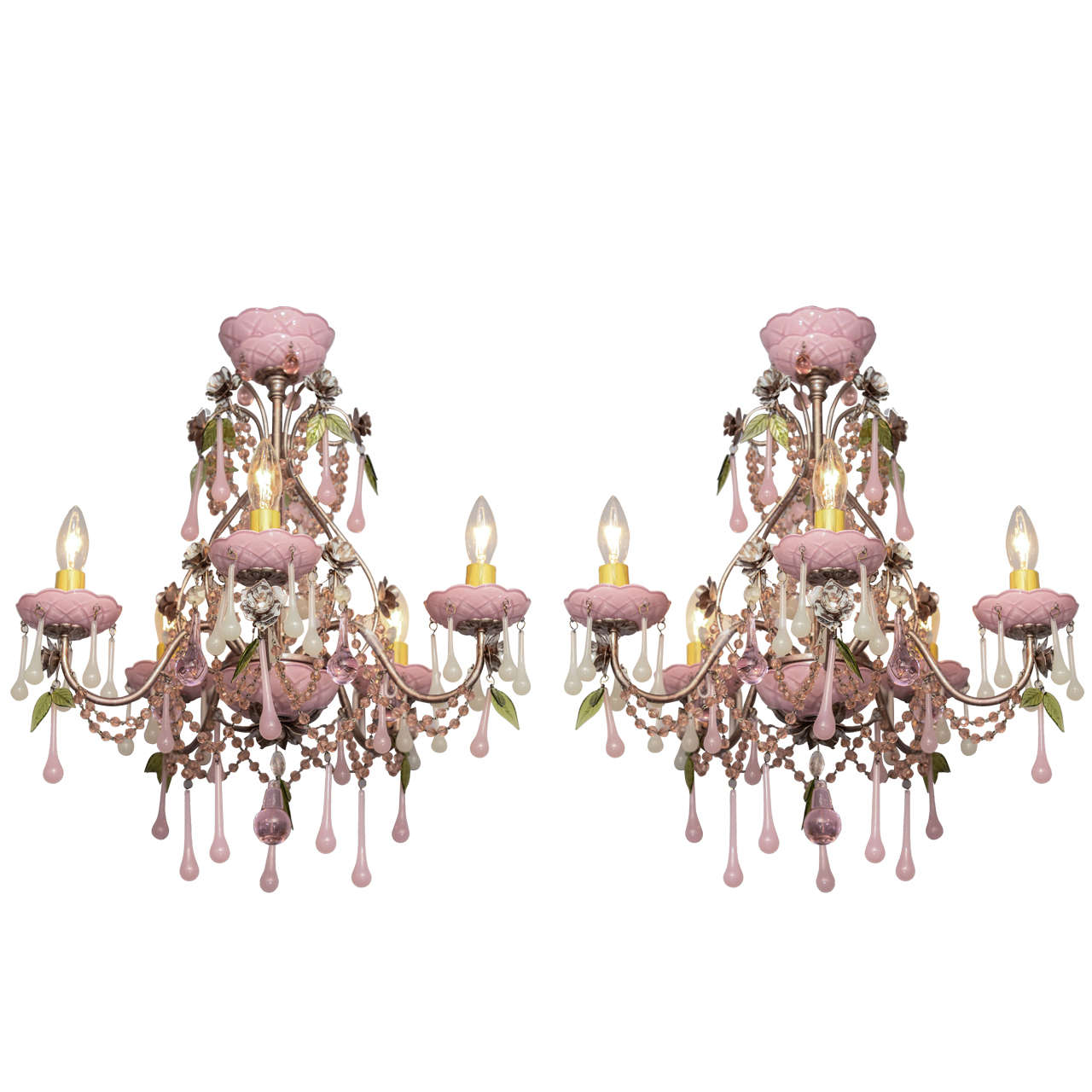 Pair of petite chandeliers with pink glass accents at 1stdibs pair of petite chandeliers with pink glass accents for sale aloadofball Image collections