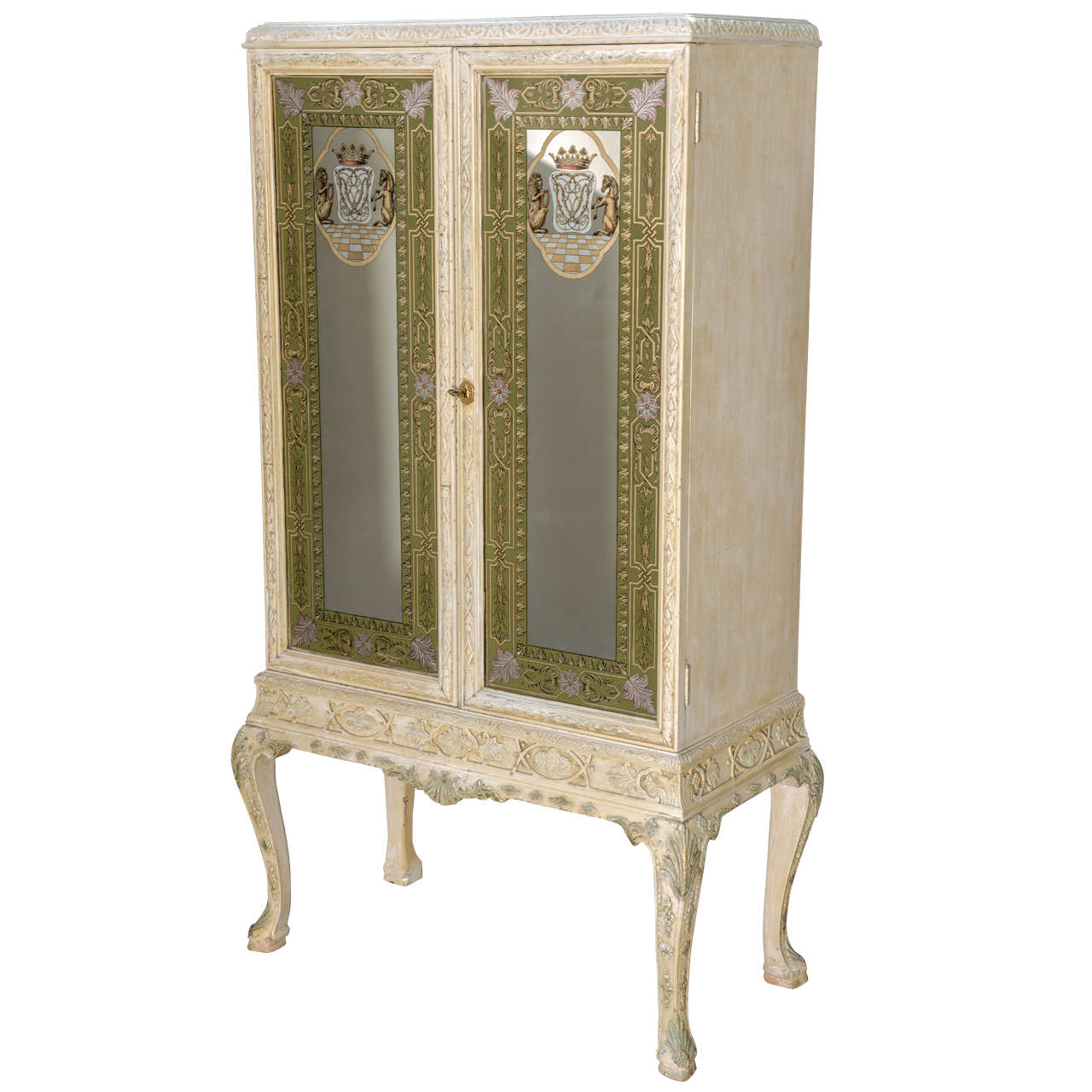 Painted Cabinet with Eglomise Doors