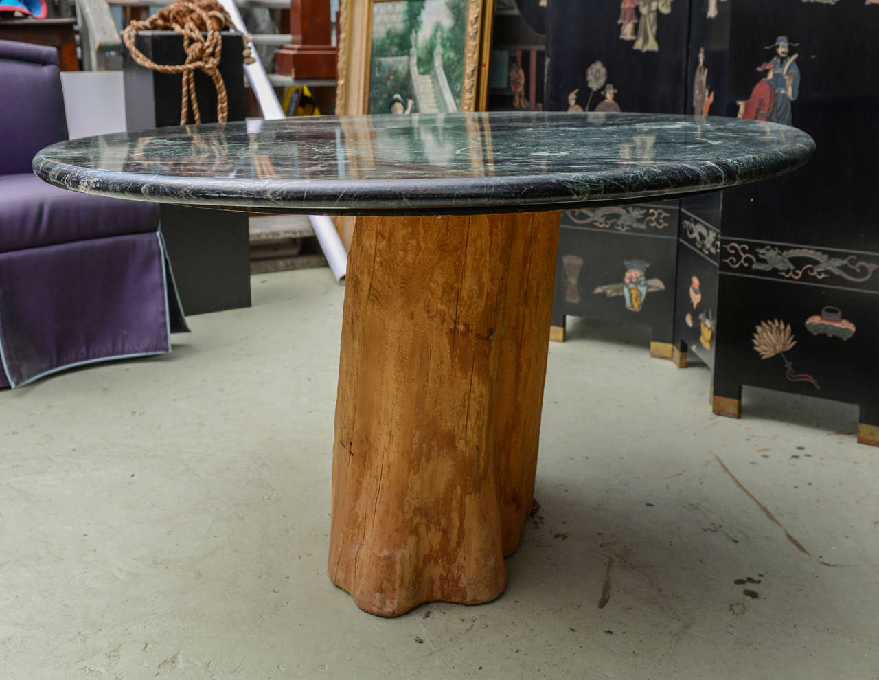 Chic mid century modern michael taylor tree trunk marble for Tree trunk dining room table