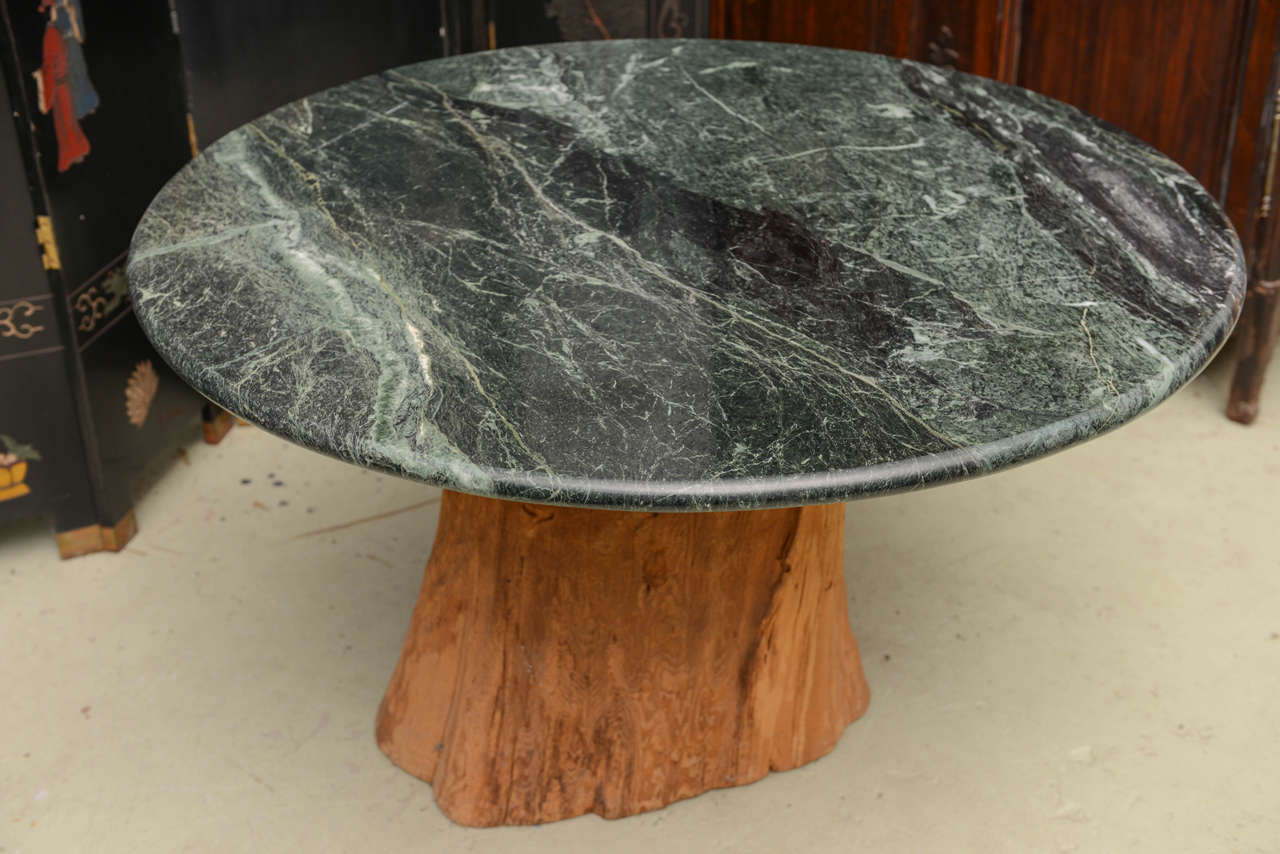 Organic Michael Taylor Tree Trunk Marble Dining Table, Mid-Century Modern For Sale 1