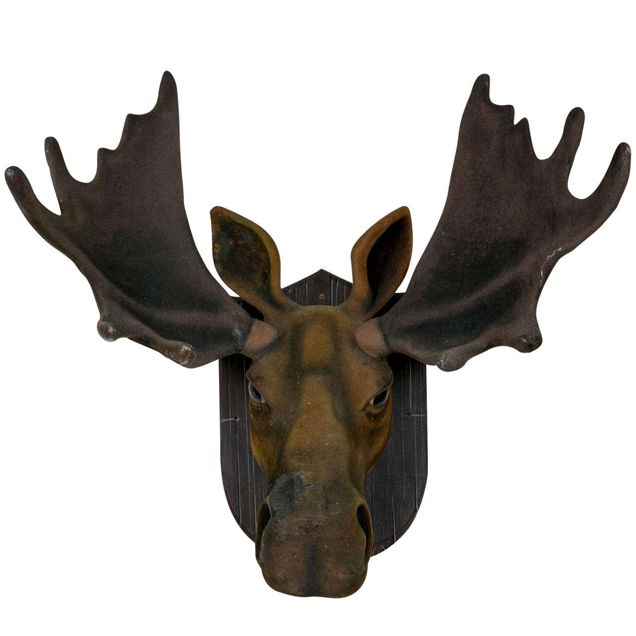 Faux flocked moose head at 1stdibs - Fake moose head ...