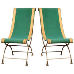 A Pair of French Empire Style Campaign Chairs
