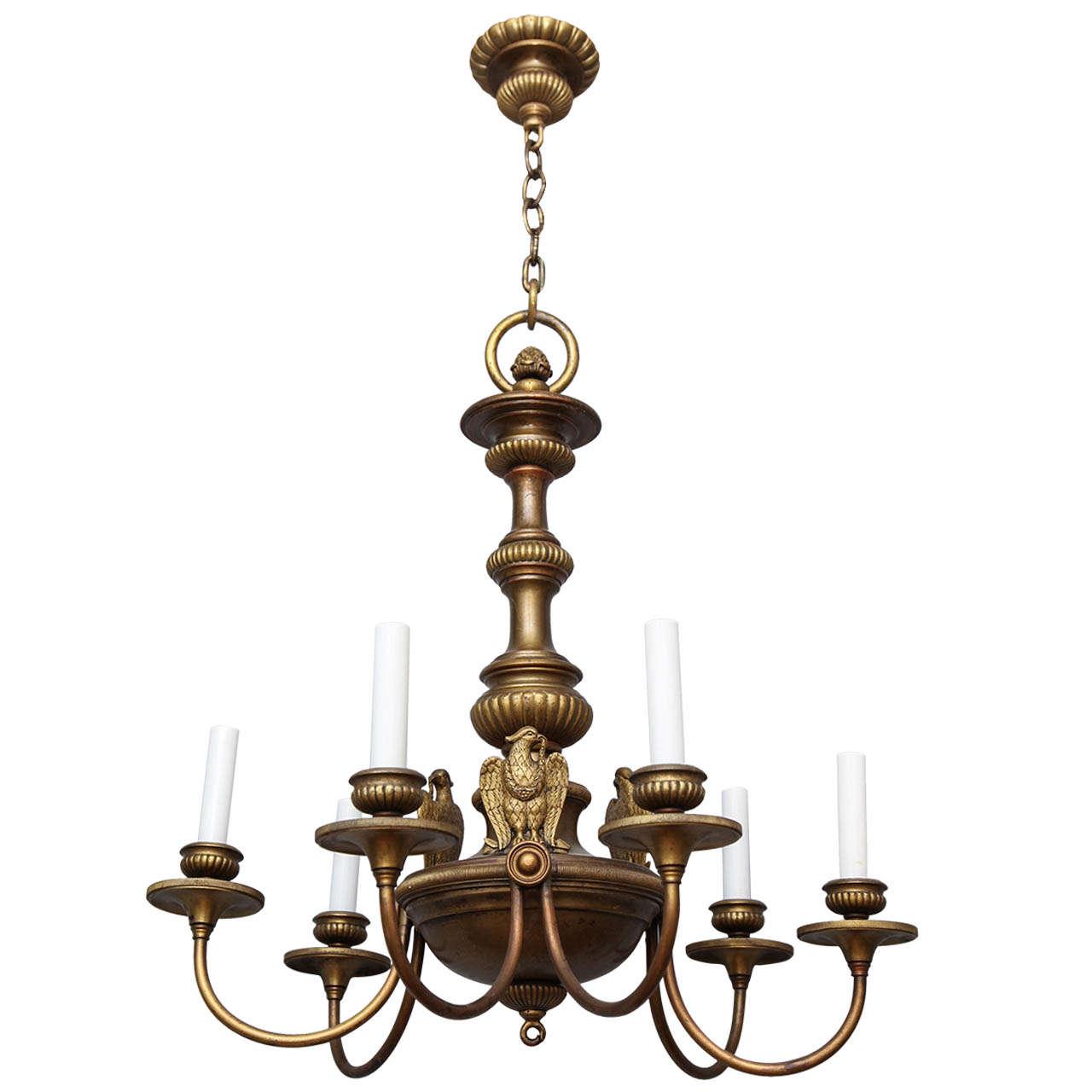 Georgian Chandelier: Six-Light Bronze Georgian Style Chandelier At 1stdibs