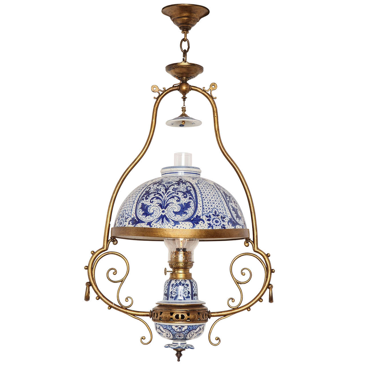 Single-Light Dutch Delft Fixture at 1stdibs