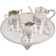 Three-Piece Child's Tea Set and Tray