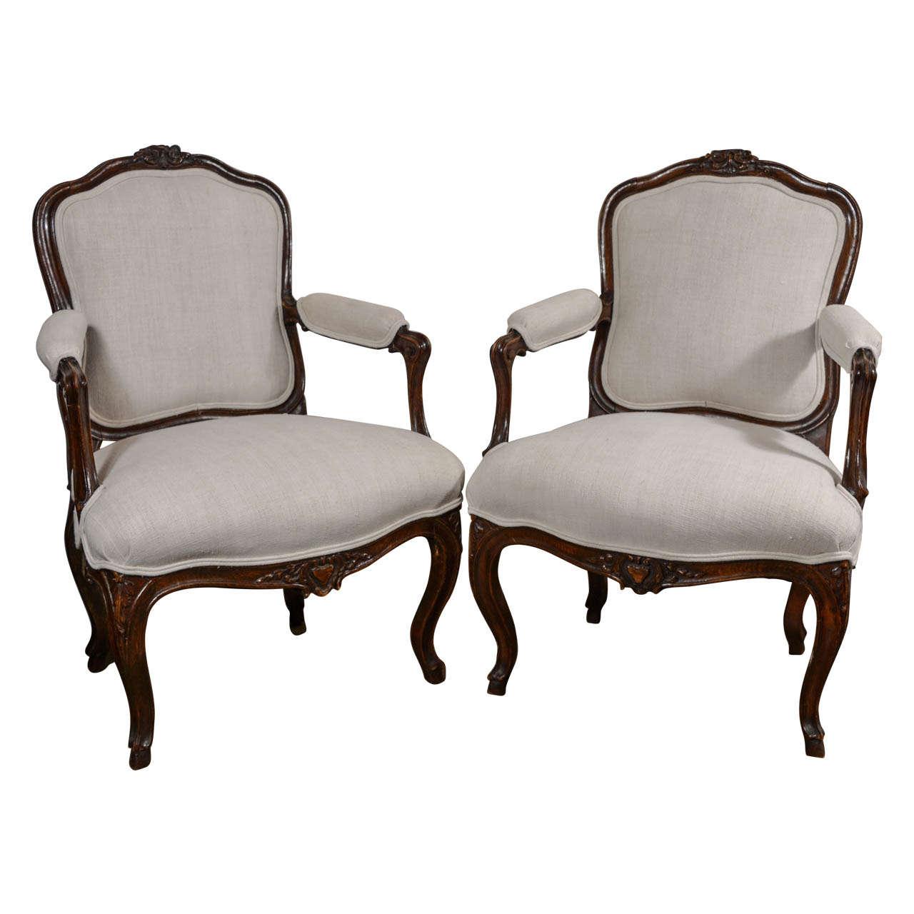 18th century louis xvi walnut chairs at 1stdibs - Louis th chairs ...