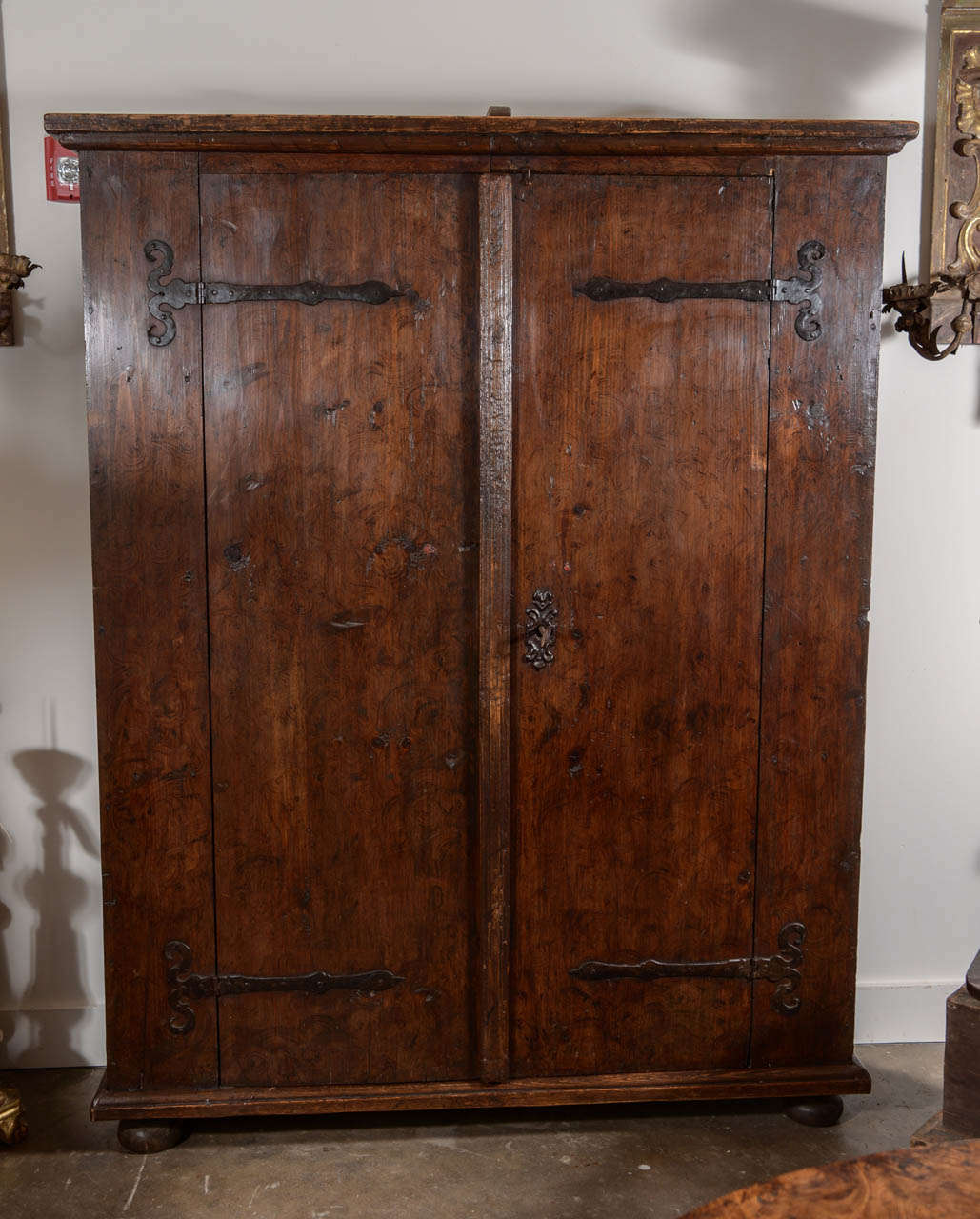 Great 17th Century Rustic German Armoire From A Castle. Original Key, Ironwork  And Wax Seals
