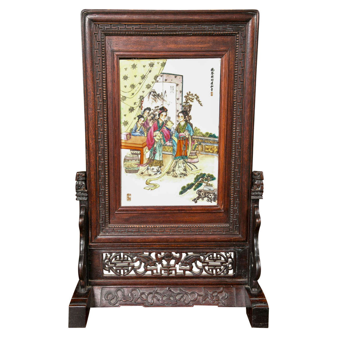 Chinese table screen in wood frame at stdibs