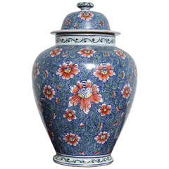 18th Century Polychrome Delft Lidded Jar