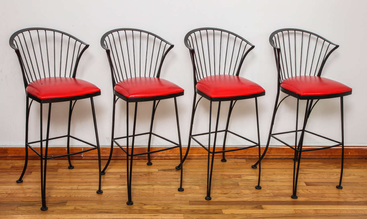 Mid-Century Modern Signed Russell Woodard Bar Stools For Sale