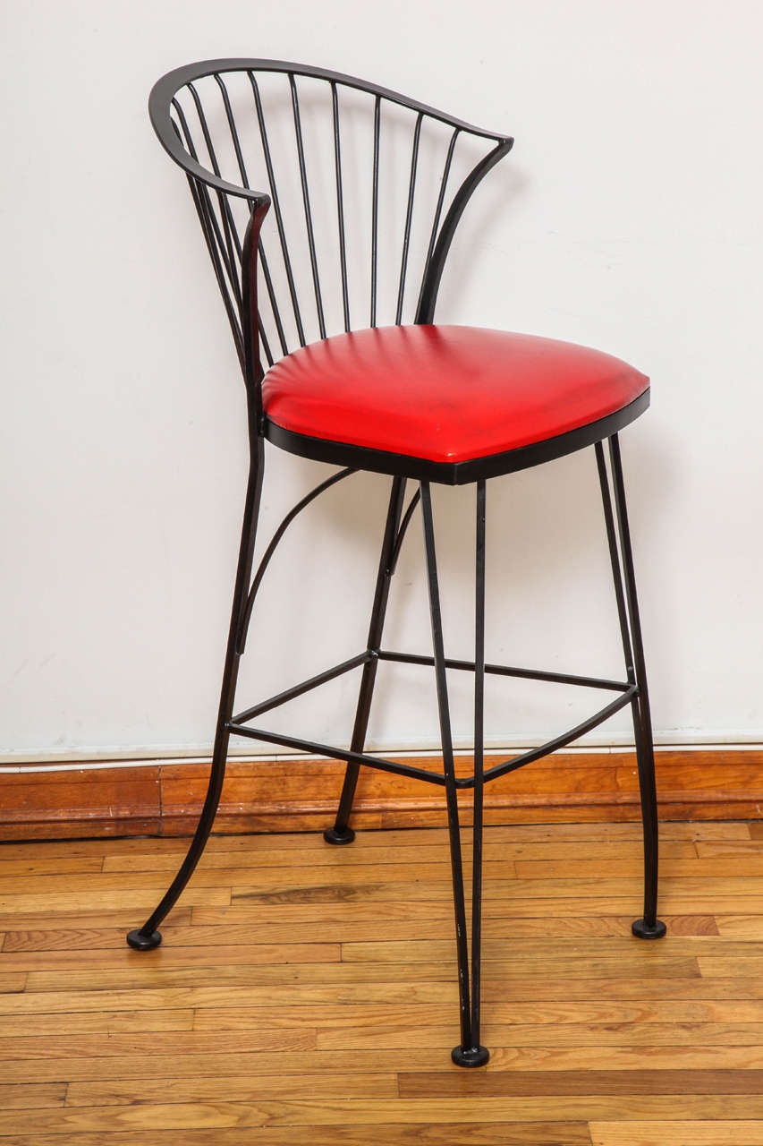 Signed Russell Woodard Bar Stools In Good Condition For Sale In Princeton, NJ