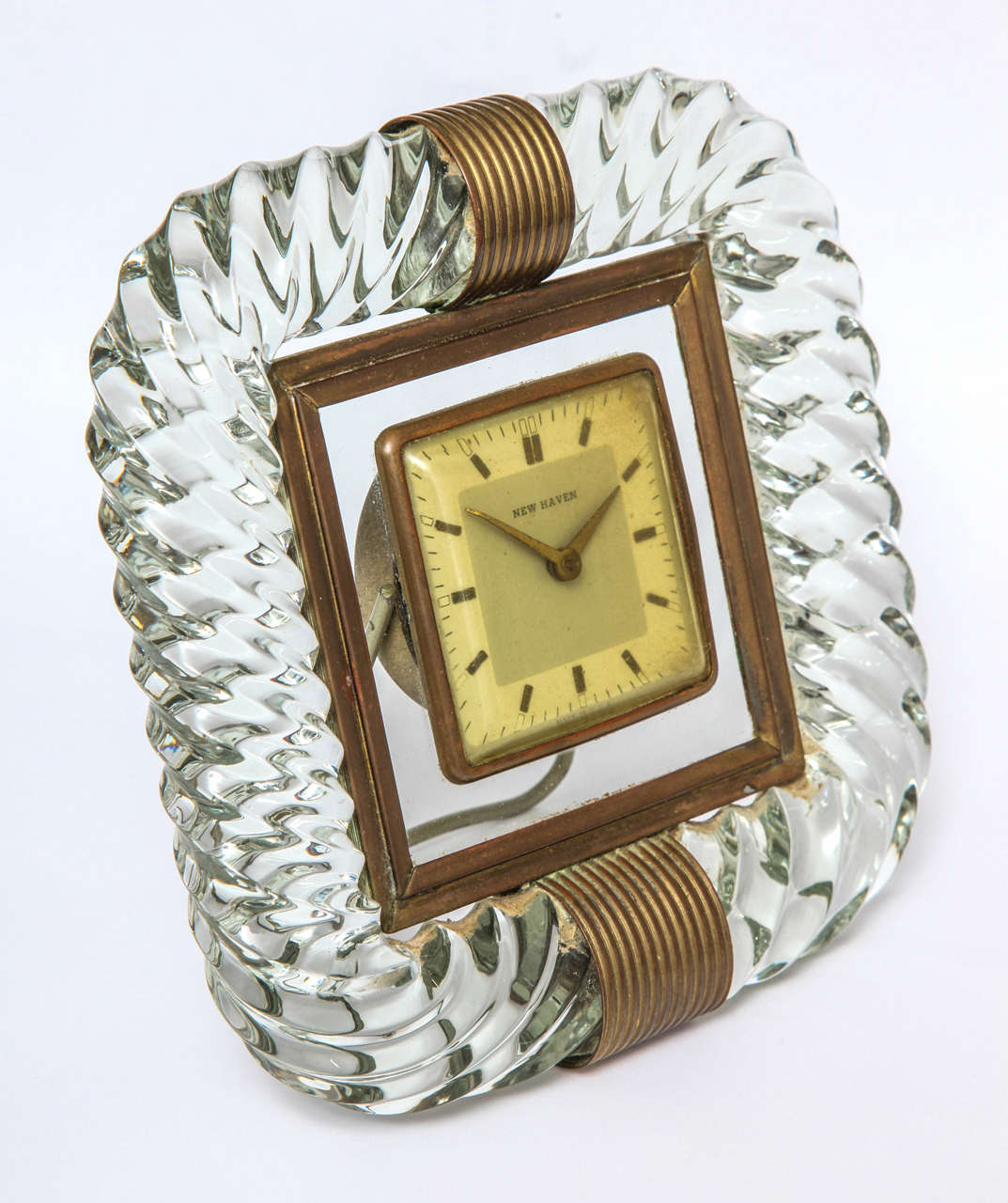 Elegant twisted rope form frame in colorless glass with brass accents. Unsigned but attributed to Venini.
