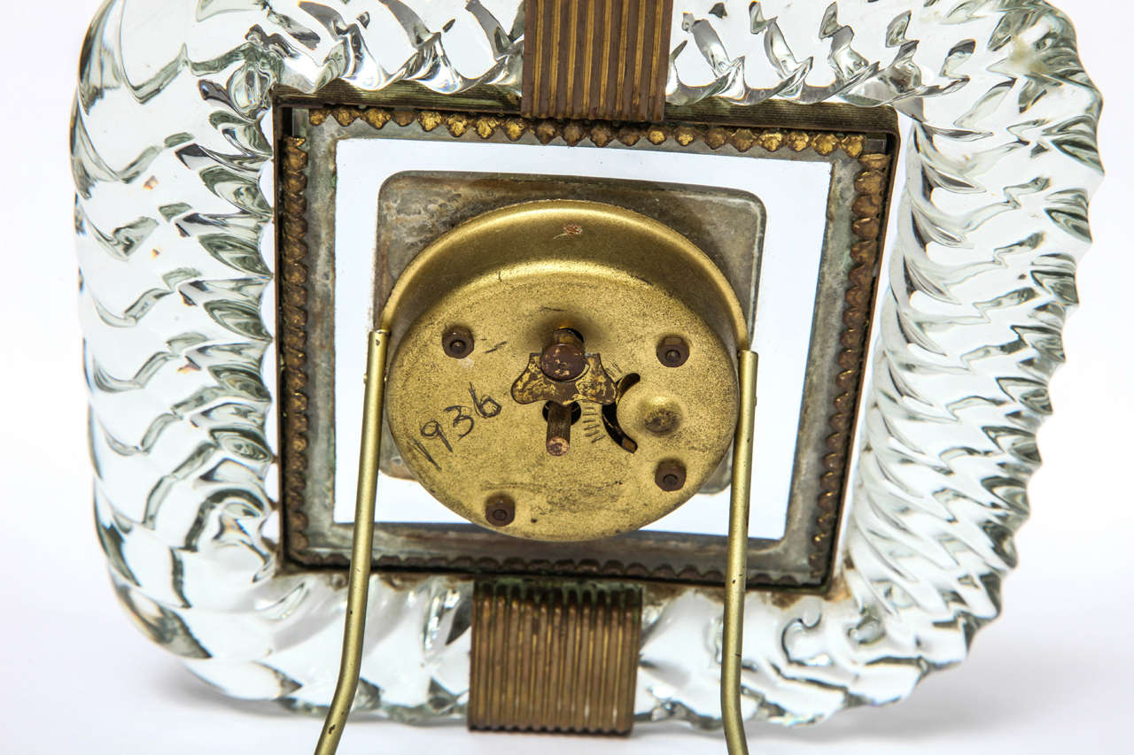 Brass Attributed to Venini Clock For Sale