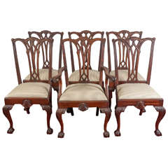 Six Chippendale Revival Dining Chairs