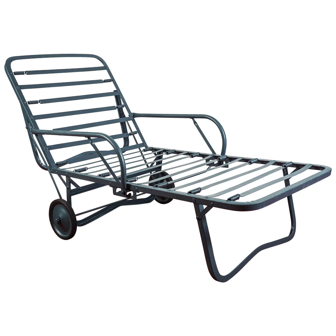 Vintage outdoor chaise longue with arms at 1stdibs for Chaise longue garden furniture