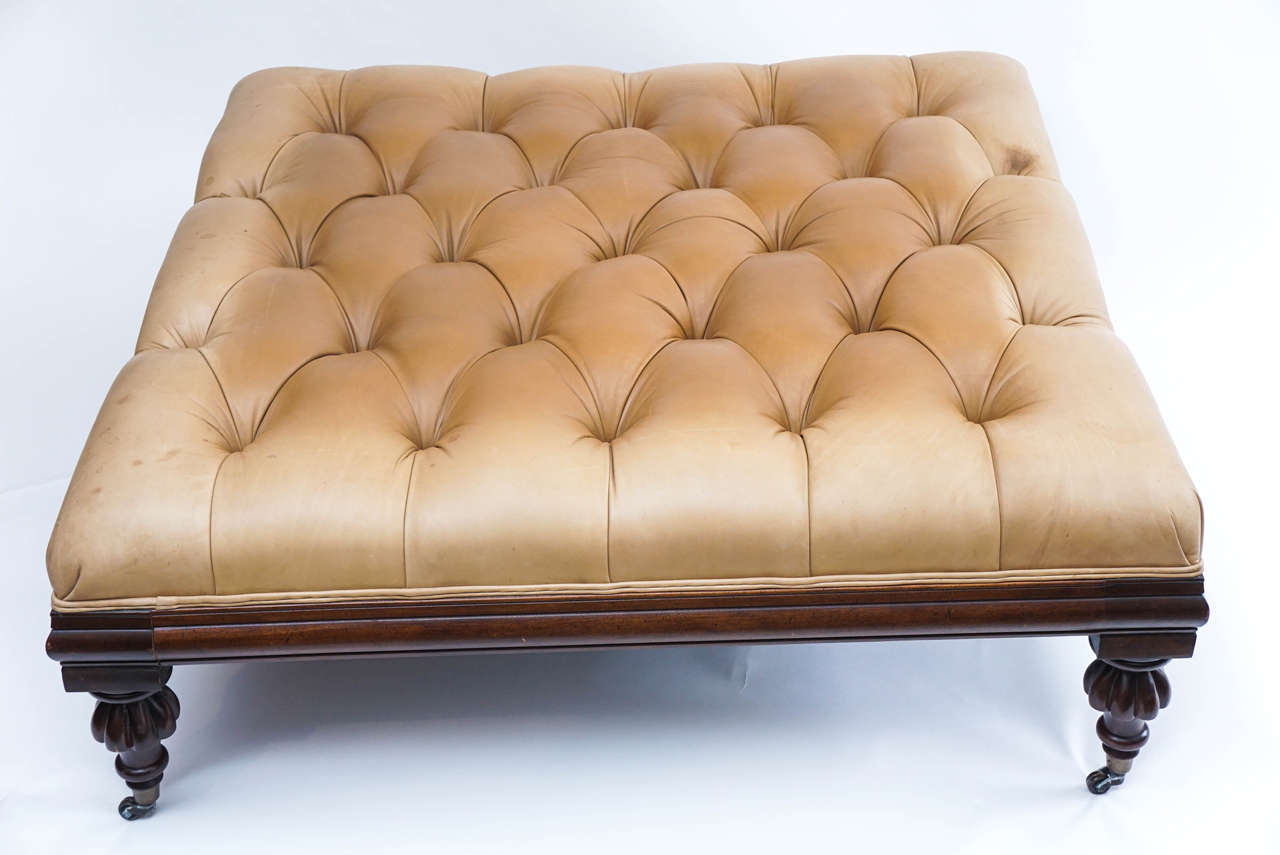 Large Henredon Leather Ottoman Or Coffee Table With