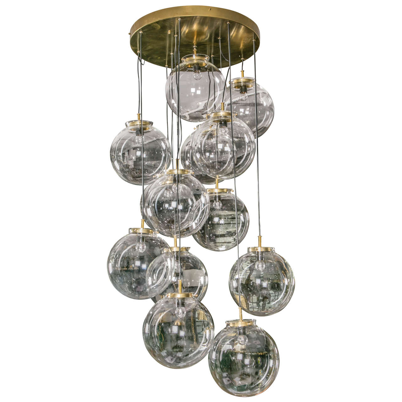 Pendant Chandelier With Thirteen Glass Globes At 1stdibs