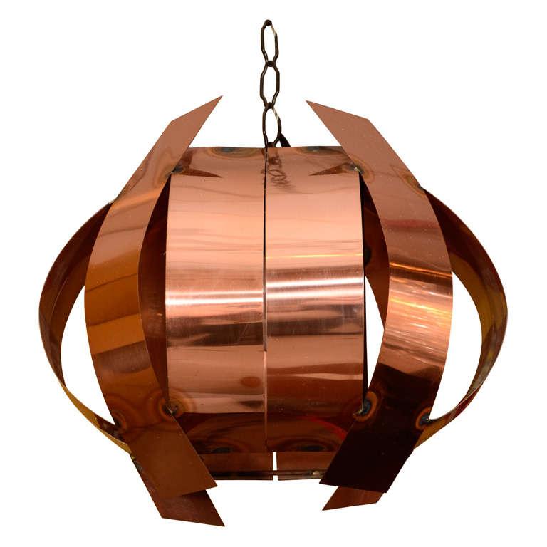 Sculptural Copper Hanging Light Fixture