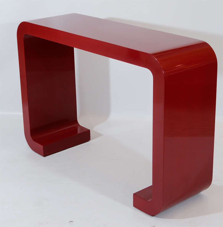 Red Lacquered Console Table 4