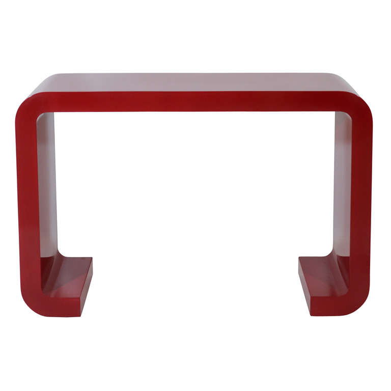Red Lacquered Console Table 1