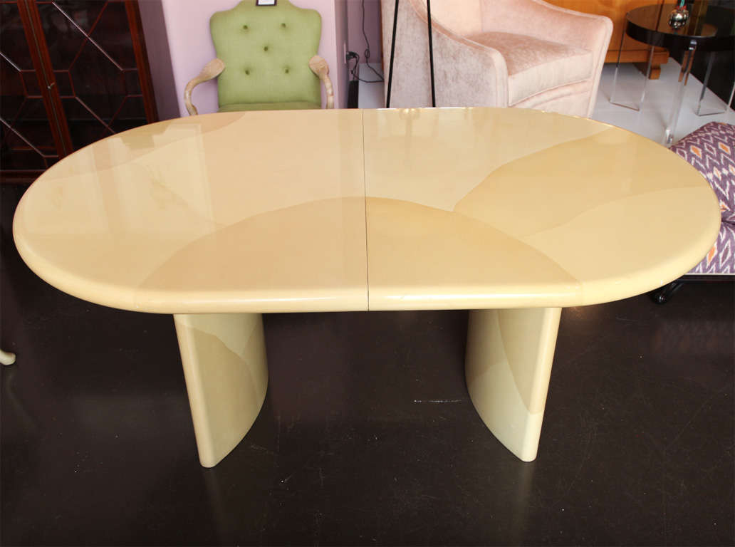 American Karl Springer Dining Table In Parchment For