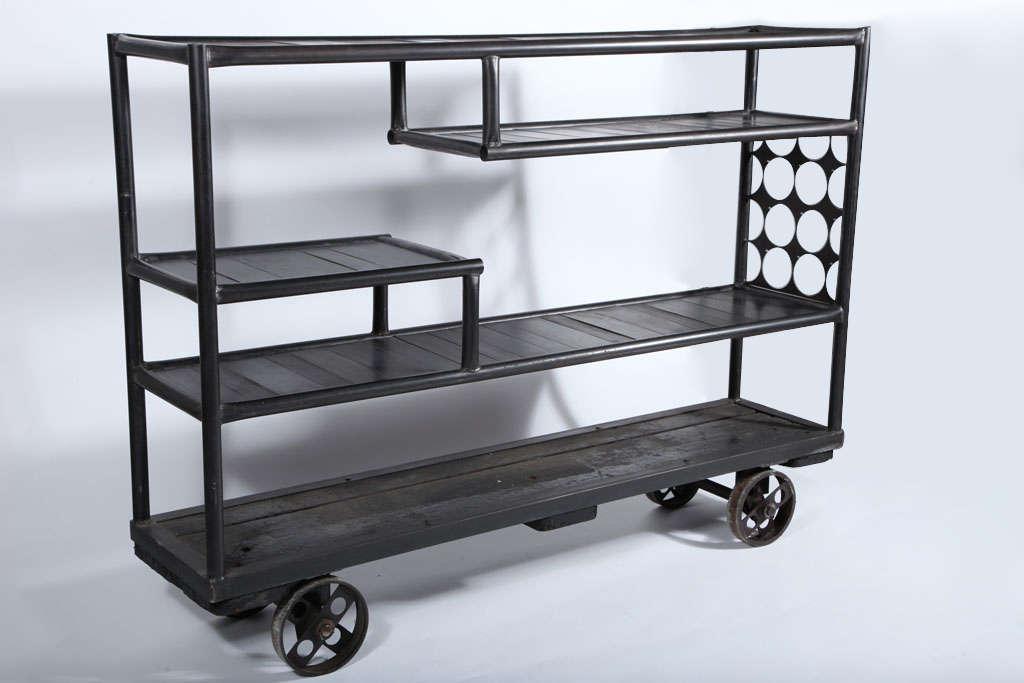 mid century industrial rolling shelf cart at 1stdibs. Black Bedroom Furniture Sets. Home Design Ideas