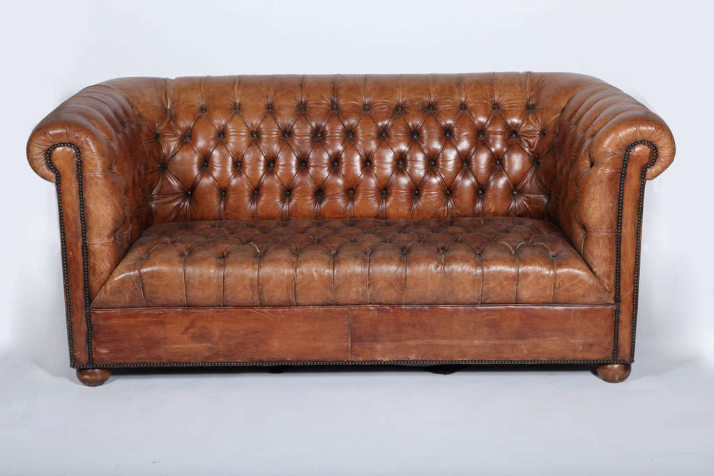 Leather Tufted Chesterfield Sofa at 1stdibs