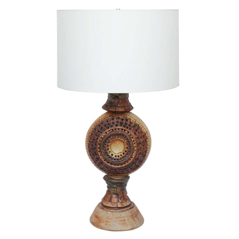 1970s Sculptural Ceramic Table Lamp Signed Rooke, England