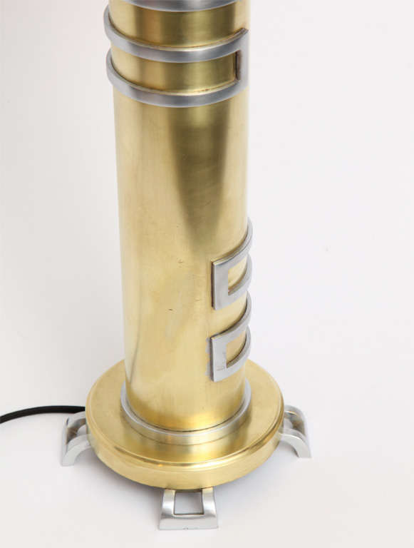 Mid-20th Century 1930s American Modernist Brass and Nickel Table Lamp For Sale