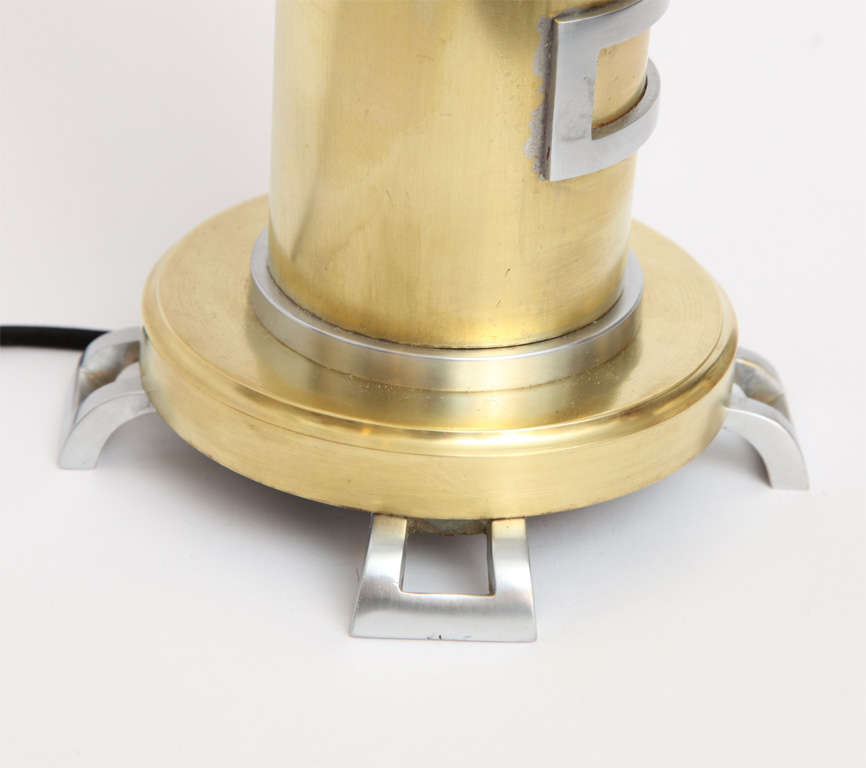 1930s American Modernist Brass and Nickel Table Lamp For Sale 1