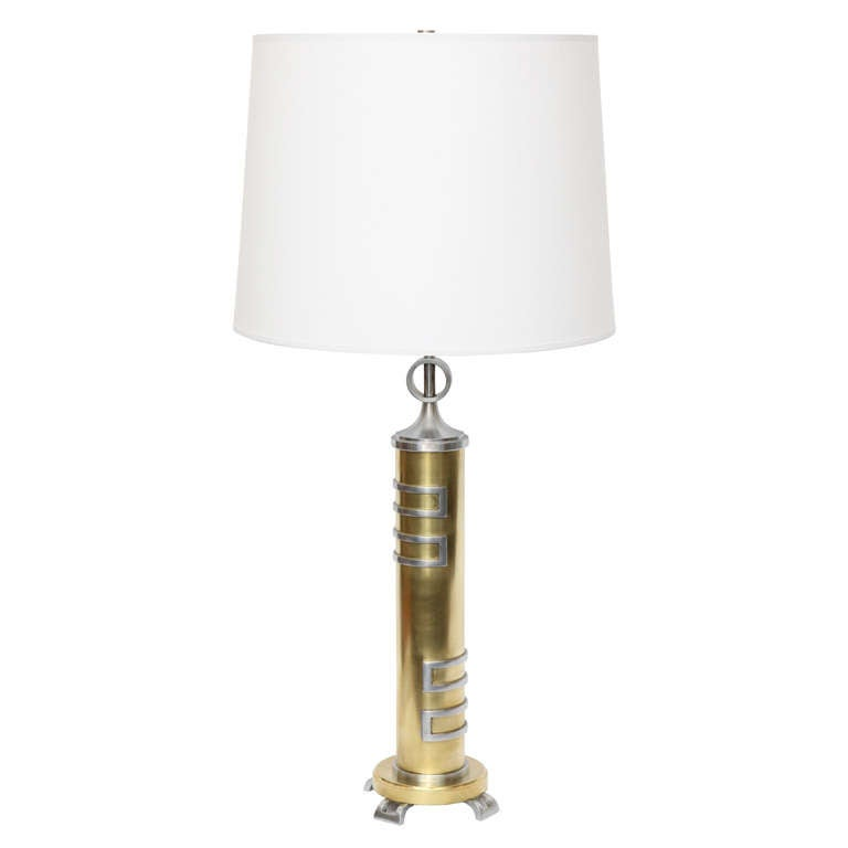 1930s American Modernist Brass and Nickel Table Lamp For Sale
