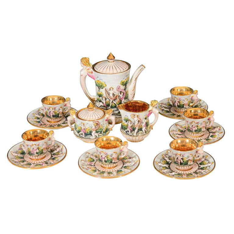 Vintage Italian Capodimonte Tea or Espresso Service for Six 1