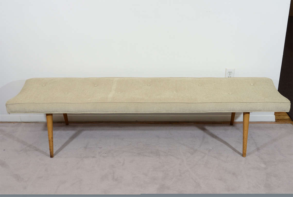 Long Mid Century Bench With Tufted Cushion Attr To Widdicomb At 1stdibs