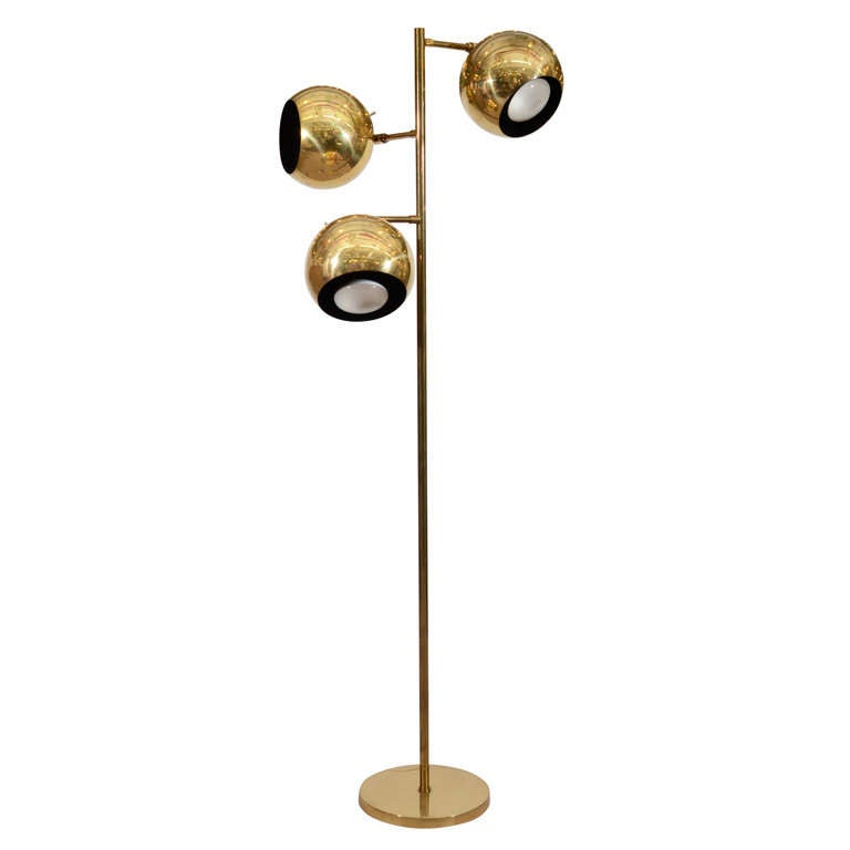 Mid Century Brass Floor Lamp with Globe Lights at 1stdibs