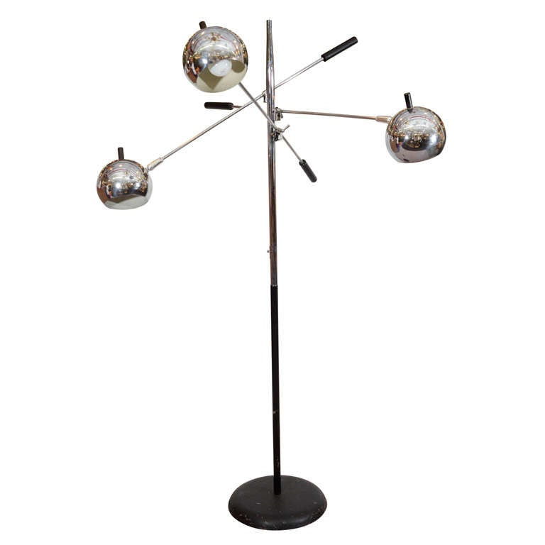 mid century three light floor lamp by lightolier at 1stdibs. Black Bedroom Furniture Sets. Home Design Ideas