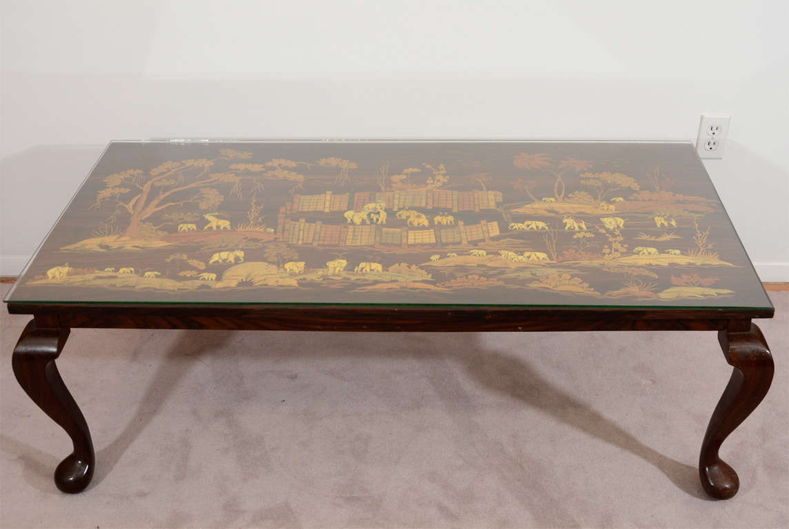 Mid century coffee or cocktail table with inlaid elephant scene at 1stdibs Elephant coffee table
